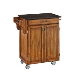 Home Styles 9001-0064 Create-a-Cart 9001 Series Cuisine Cart with Black Granite Top, Warm Oak, 3 ...