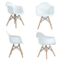 Aingoo Eiffel Style Dining Chairs with Arms set of 4, Mid Century Modern Chairs with Natural Woo ...