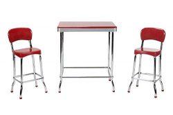 Cosco Red Retro Chrome 3pc High Top Set, Red with Chrome Legs