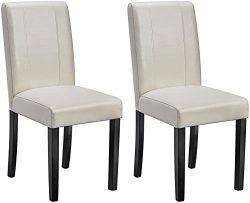 AmazonBasics Padded Dining Chair – Set of 2, Cream