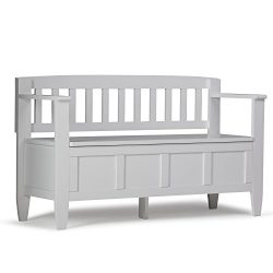 Simpli Home Brooklyn Solid Wood Entryway Storage Bench, White