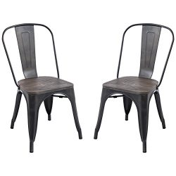 Poly and Bark Trattoria Side Chair with Elm Wood Seat in Bronze (Set of 2)