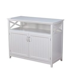Target Marketing Systems 83670WHT Southport Buffet, White Solid Wood Storage Cabinet
