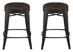 ACEssentials Contoured Seat, Round Backless Counter Stool – Antique Brown 2 Pack 24″ ...