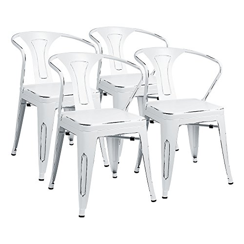 Furmax Metal Chairs With Arms Distressed Style Dream White