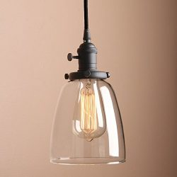 Pathson 1-Light Mini Pendant Lighting with Clear Glass Shade, Vintage Style Hanging Lamp Fixture ...