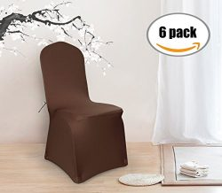 Deconovo Set of 6pcs Brown Color Stretch Chair Covers Spandex Dining Chair Cover for Wedding Ban ...