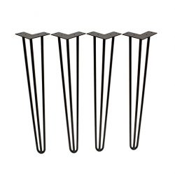 "7Penn Hairpin Steel Large 28"" Inch Leg 4-Pack – Black Satin Metal Furniture Legs for Bench, Kitc ..."