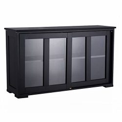 Storage Cabinet Sideboard Buffet Cupboard Black Glass Sliding Door Pantry Kitchen for kitchen