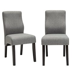 Andeworld Set of 2 Upholstered Dining Chairs Low Back Padded Kitchen Chairs with Wood Legs Grey