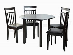Dining Kitchen Set of 5 Piece Round Table and 4 Classic Solid Wood Chairs Warm in Espresso Black ...