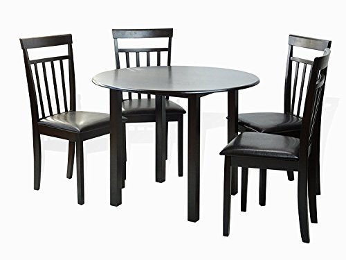 Solid Wood Round Table Set: Dining Kitchen Set Of 5 Piece Round Table And 4 Classic