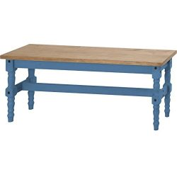Manhattan Comfort Jay Collection Traditional Wooden Dining Table Bench With Trim Finish, Blue/Wood