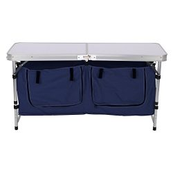 Finether Lightweight Height Adjustable Aluminum Folding Table with Large 2-Compartment Storage B ...