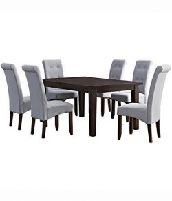 Simpli Home Cosmopolitan 7 Piece Dining Set, Dove Grey