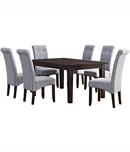 Simpli Home Cosmopolitan 7 Piece Dining Set, Dove Grey