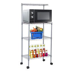 Microwave Oven Stand With Wheel 3-Tier Removable Kitchen Baker's Rack Household Storage Ca ...