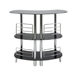 CURVED Black Glass 3-Tier Home Pub Bar Table by PRIME FURNISHING