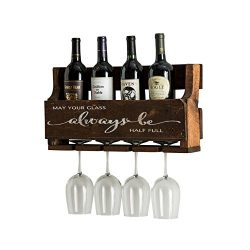 del Hutson Designs The Little Elm Wine Rack w/Quote 'May Your Glass Alway Be Half Full, US ...