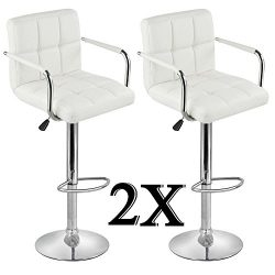 Yaheetech Set of 2 Modern Square PU Leather Adjustable BarStools With Arms and Back Bar Stools B ...