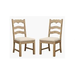 Emerald Home Barcelona Rustic Pine and Beige Dining Chair with Upholstered Seat, Ladder Back, An ...