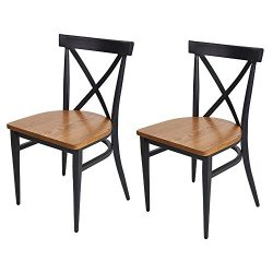 Dporticus Dining Chairs With Solid Wood Seat and Metal Frame X Back Side Chairs Set of 2 Black