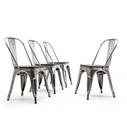 Belleze Set of 4 Dining Chairs Backrest Modern Stackable w/Wood Seat Stool, Gunmetal