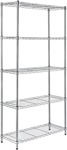 AmazonBasics 5-Shelf Shelving Unit – Chrome
