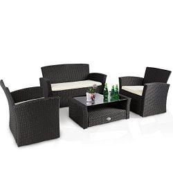 Cloud Mountain 4 PC Wicker Rattan Furniture Set Sofa Cushioned Patio Wicker Rattan Furniture Set ...