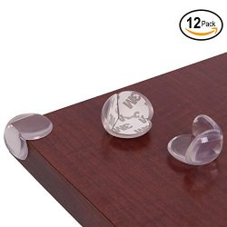 Baby Ziz Clear Plastic Corner Protector (Set of 12) Child Proof Furniture Bumpers with 3M Sticke ...