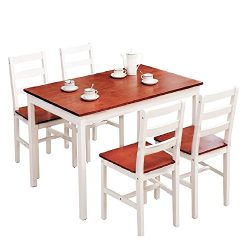 Mecor Dining Table Set with 4 Chairs Kitchen Room Furniture (5 PC Red)