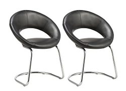 Crescent Guest Chair with Cantilever Sled Base, Set of 2 Duhome WY-679 Stool (Black)