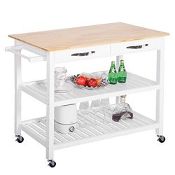 Harper&Bright Designs Concord Series Home Kitchen Island Storage Cart with Wheels (Wooden Top)