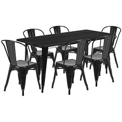 "Flash Furniture 31.5"" x 63"" Rectangular Black Metal Indoor-Outdoor Table Set with 6  ..."
