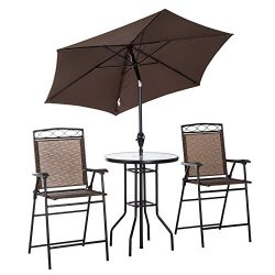 Outsunny 4 Piece Folding Outdoor Patio Pub Dining Table and Chairs Set with 6′ Adjustable  ...