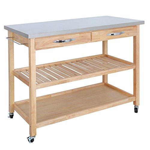 Zeny Natural Wood Kitchen Cart Rolling Kitchen Island