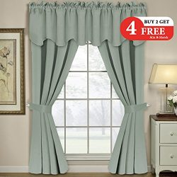 H.VERSAILTEX Thermal Insulated Blackout Grommet Window Curtains Panels Set for Living Room/Bedro ...