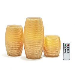 Gold Flameless Large Wax Candles, Set of 3, Warm White LEDs, Honeycomb Carved Finish, Remote &am ...