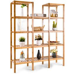 COSTWAY Bamboo Utility Shelf Bathroom Rack Plant Display Stand 12-Tier Storage Organizer Rack Cu ...