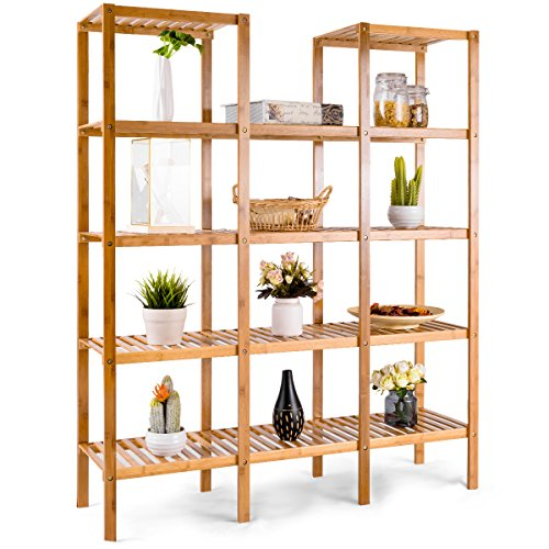 Costway Bamboo Utility Shelf Bathroom Rack Plant Display