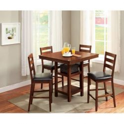 Transitional Square Five Piece Wood Dining Set, Mocha Finish Table and Four Padded Upholstered C ...