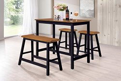 Harper&Bright Designs 4-Piece Dining Set Counter Height Rubber Wood Dining Table with Saddle ...
