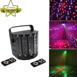Led Laser Stage Lights, Effect Butterfly 9 Color RGB Auto Sound Activated Magic Endlessness Swor ...