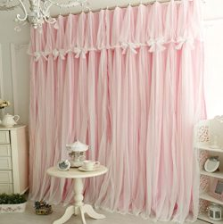 """Queen's House Girls Pink Lace Bedroom Curtains Panels (Set of 2)-52""""×95"""""""