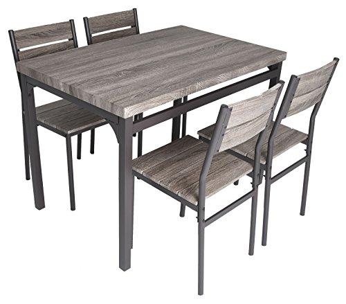 Grey Kitchen Dining Sets: Zenvida 5 Piece Dining Set Rustic Grey Wooden Kitchen