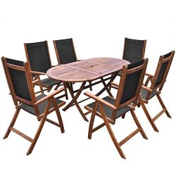 Festnight 7 Pieces Natural Wood Folding Outdoor Patio Dining Table with 6 Adjustable Chairs Set  ...