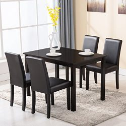 Mecor 5 Piece Kitchen Table Set Wood/4 Leather Chairs Kitchen Room Breakfast Furniture (Black)