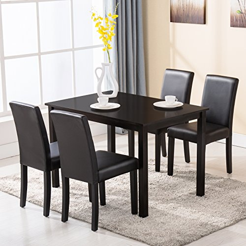 Mecor Dining Chairs Set Of 4 Kitchen Leather Chair With: Mecor 5 Piece Kitchen Table Set Wood/4 Leather Chairs