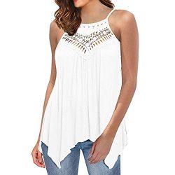 HGWXX7 Women Women Casual Loose Off Shoulder Lace Irregular Blouse T Shirts Tank Tops (M, White)