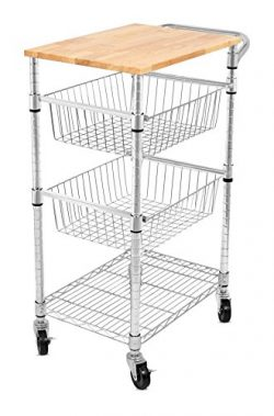 Internet's Best 3-Tier Kitchen Cart with Wire Baskets | Kitchen Island Trolley with Lockin ...